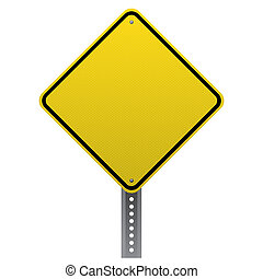Blank yellow road sign detailed - Blank yellow road sign on...