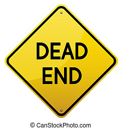 Dead End road sign. Yellow glossy road sign on white...