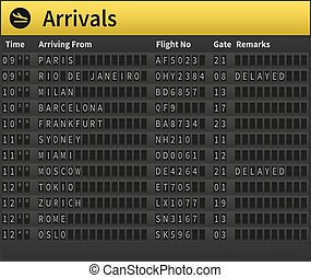 Airport timetable showing arrival times Worldwide arrivals...