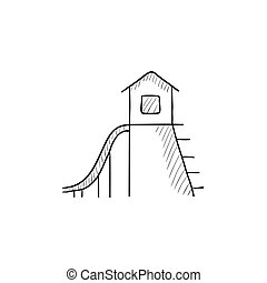 Playhouse with slide sketch icon - Playhouse with slide...