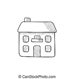 Two storey detached house sketch icon - Two storey detached...
