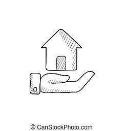House insurance sketch icon - House insurance vector sketch...