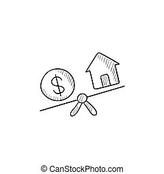 House and dollar symbol on scales sketch icon. - House and...