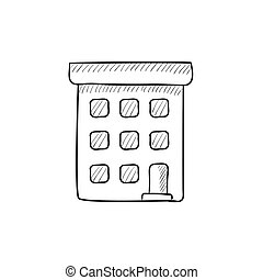 Condominium building sketch icon - Condominium building...