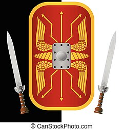 fantasy shield and sword ninth variant vector illustration