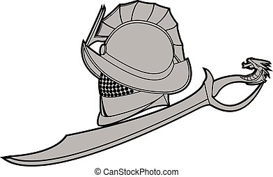 gladiators helmet with sword vector illustration