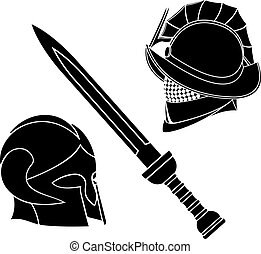 gladiators helmets and sword vector illustration