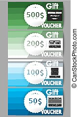 Set of gift voucher templates. Abstract colorful business background, blue and green colors, modern stylish striped vector texture for your cover design.