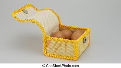 Chicken egg in box time lapse - Chicken egg in beautiful box...
