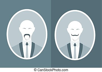 Vintage portrait of man in suit with mustache. Modern flat vector illustration.