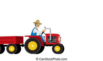 Tractor Isolated - Looping animation of tractor dragging...