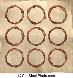 Set of Coffee stains on paper texture. Coffee cup prints. Vector illustration.