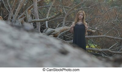 girl in a dress from a fallen tree - sexy girl in black...