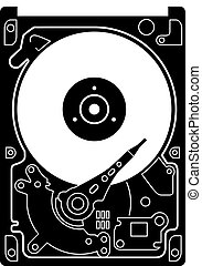Hard Drive Disk icon black on white. Black detailed icon of...