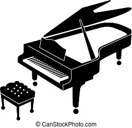 Grand piano icon - Black and white icon of an open grand...