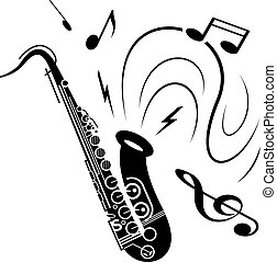 Saxophone music concept - Saxophone music illustration black...