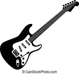 Electric guitar icon black on white. A detailed icon of...
