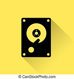 Hard Drive Disk icon simple flat. Flat design icon of a hard...