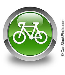 Bicycle icon glossy soft green round button