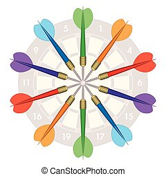 darts in circle with board - darts in a circle display with...