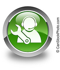 Tech support icon glossy soft green round button