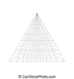 Pyramid construction in perspective isolated on white...