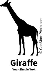 Vector illustration of a silhouette of a giraffe standing...