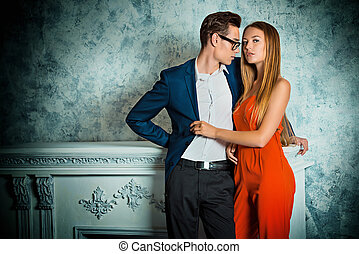 dating lovers - Gorgeous couple of young people stand in a...