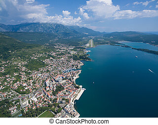 Aerial view of Tivat city. - Aerial view of Tivat city in...