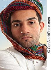 arabe, homme, Porter, turban