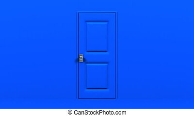 Blue Door And Dark Room Abstract 3DCG render Animation