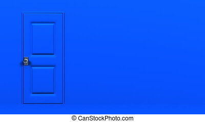Blue Door With Text Space And Dark Room Abstract 3DCG render...