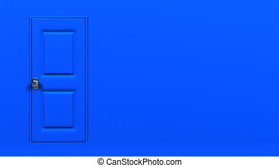 Blue Door With Text Space And Wall. Abstract 3DCG render...