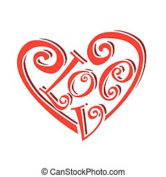 heart symbol text love concept valentines day caligraphic...