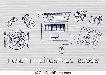 health & fitness blogger desk with laptop, healthy lifestyle...