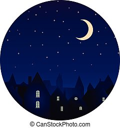 Silhouette of the city and night sky with stars and moon