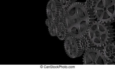 Rotating gears - The composition of the metal rotating gear.