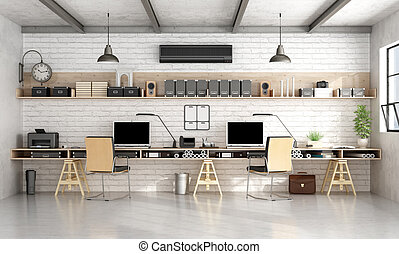 Architecture or engineering office in industrial style -...