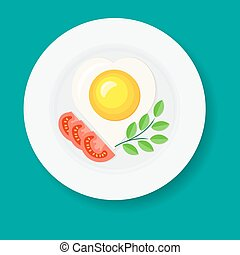Fried egg like heart on a white plate with slices of tomato and fresh green leaves of spices. Vector illustration.