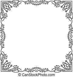Calligraphic square frame decoration with empty place for your text. Vector illustration for your design.