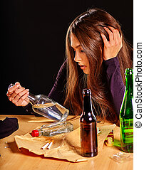 Girl in depression drinking alcohol - Girl in depression...