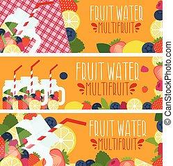 Set of banners with bright fruit water in mason jar with strawberries, raspberries, lemons, blueberries, raspberries .Vector illustration