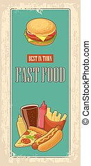 Fast food poster with vintage background. Set icon. Glass of cola, hamburger, pizza, hotdog, fries potato in red paper box, bottles of ketchup and mustard. Vector flat illustration