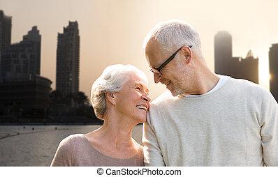 城市, 迪拜, 在上方, 街道, 背景, 年長者, 夫婦