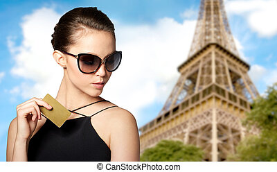 beautiful young woman in elegant black sunglasses - shopping...