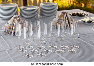Empty champagne glasses on a table