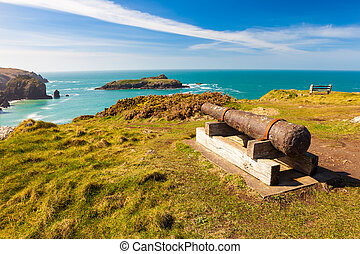 Mullion Cove Cornwall - Cannon Overlooking Mullion Cove...