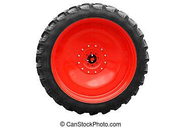 tractor big wheel isolated