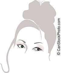 face - Illustration of a mid aged womanu2019s face with...