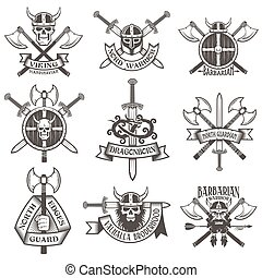 Print - Viking logo set. Skull in a horned helmet, the skull...